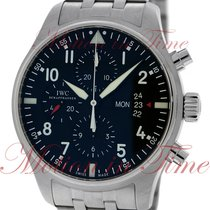 IWC Pilot's Chronograph, Black Dial - Stainless Steel on...