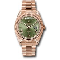 Rolex Day-Date 40 228235 18K Everose Gold 40MM Green Olive...