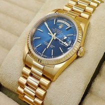 Rolex Day-date President 18238 18k Yellow Gold Blue Stick Dial...