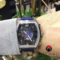 Jacob & Co. 5 Time Zones Square 47mm Black Dial 3ct Diamond