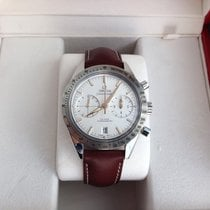 Omega Speedmaster 57 chronograph white dial leather