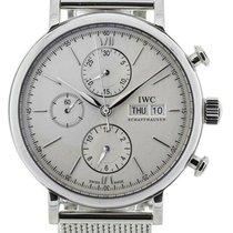 IWC Portofino Chronograph Silver Dial Automatic Steel Mesh BR...