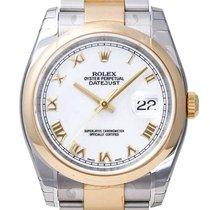 Rolex Datejust 36 Stahl/Gelbgold Weißes Zifferblatt 116203