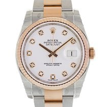 Rolex DATEJUST 36mm Steel & 18K Rose Gold White Diamond Dial