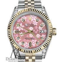 Rolex Ladies Rolex 31mm Datejust 2 Tone Pink Flower Mop Mother...