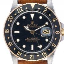 Rolex GMT Master Stahl Gelbgold Automatik Armband Leder 40mm...