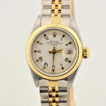 Rolex Date Two Tone 18k Gold & Stainless Steel White Dial...
