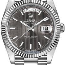 Rolex Day-Date 40mm White Gold 228239 Dark Rhodium Stripe Index