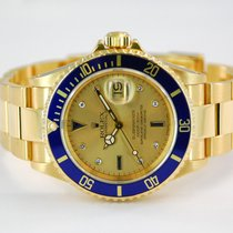 Rolex Submariner Date 18kt Yellow Gold Serti Dial - 16618