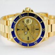 Rolex Submariner Date 18kt Yellow Gold Serti Dial - 16618