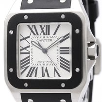 カルティエ (Cartier) Santos 100 Steel Rubber Automatic Mens Watch...