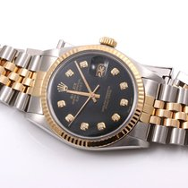 Rolex Mens 18K/SS Datejust Black Diamond Dial, Jubilee Band,...