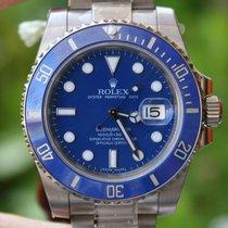 Rolex Watch Mens Submariner 40mm Blue Bezel Dial 18k White...