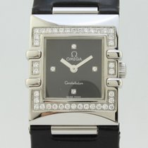 Omega Constellation Quadra Black Dial Diamonds Bezel Quartz