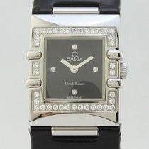 Omega Constellation Quadra Black Dial Diamonds Bezel Quartz