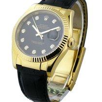 Rolex Unworn 116138_blk_diamond Mens Yellow Gold Datejust with...