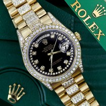 Rolex Presidential Day Date Glossy Black Dial Diamond Watch 18...