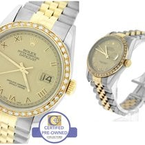 Rolex DateJust 36mm 16203 Diamond Two Tone Champagne Roman...