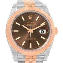 Rolex Datejust 41 Steel Everose Gold Chocolate Dial Watch...