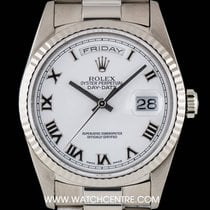 Rolex 18k White Gold White Roman Dial Day-Date Gents 18239
