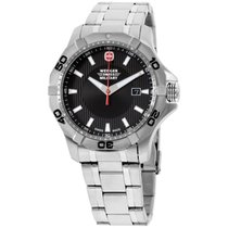 Wenger Swiss Military Black Dial Stainless Steel Men's...