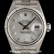 Rolex 18k W/G O/P Silver Diamond Dial Bark Finish Datejust 69279