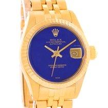 Rolex President Datejust Ladies 18k Yellow Gold Lapis Watch 6917