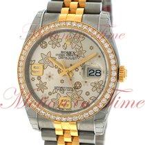 Rolex Datejust 36mm, Silver Floral Motif Dial, Diamond Bezel -...