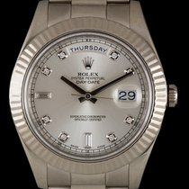 Rolex 18k White Gold O/P Silver Dia Dial Day-Date II 218239