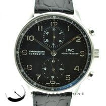 IWC Portuguese 3714 Black Dial Chronograph 41mm Steel Automati...