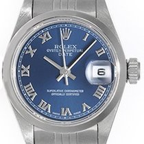 Rolex Ladies Rolex Date Watch 69190 Blue Roman Dial