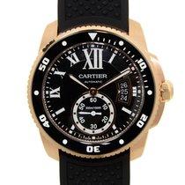 Cartier Calibre De Cartier 18k Rose Gold Black Automatic W7100052