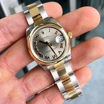 Rolex Lady-Datejust Or/Acier 31mm Argent Romains