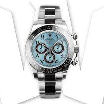 Rolex Daytona Platin 40mm Blau Keine Ziffern