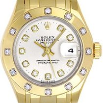 Rolex Lady-Datejust Pearlmaster Oro amarillo 29mm Blanco
