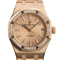 Audemars Piguet Rotgold Automatik Pink Keine Ziffern 37mm neu Royal Oak Lady