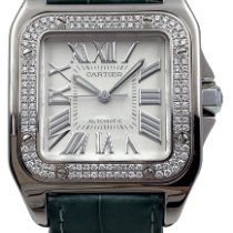 Cartier White gold Automatic White Roman numerals 32mm pre-owned Santos 100