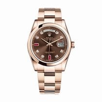 Rolex Day-Date 36 Or rose 36mm Brun Sans chiffres
