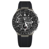 Seiko Titanio Cuarzo Negro 46.7mm nuevo Astron GPS Solar Chronograph