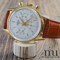 TAG Heuer Yellow gold Manual winding Silver 36mm pre-owned Carrera