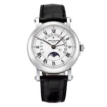 Patek Philippe White gold Automatic White 36mm pre-owned Perpetual Calendar
