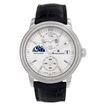 Blancpain Léman pre-owned 36mm White Date GMT Leather