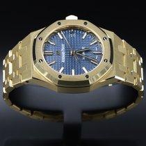 Audemars Piguet Or jaune Remontage automatique Bleu Sans chiffres 37mm nouveau Royal Oak Selfwinding
