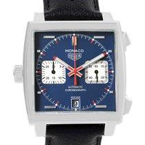 TAG Heuer Monaco Calibre 11 brukt 39mm Blå Kronograf Dato Lær