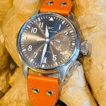 IWC Big Pilot tweedehands 46mm Grijs Datum Krokodillenleer