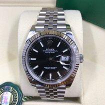 Rolex White gold Automatic Black No numerals 41mm new Datejust