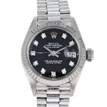 Rolex White gold Automatic Black No numerals 26mm pre-owned Lady-Datejust