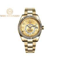 Rolex Or jaune Remontage automatique Champagne Arabes 42mm nouveau Sky-Dweller