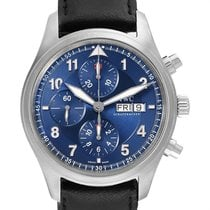 IWC Pilot Chronograph pre-owned 42mm Blue Chronograph Date Leather
