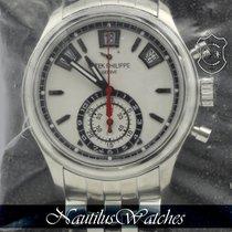 Patek Philippe Annual Calendar Chronograph Stal 40mm Biały Bez cyfr
